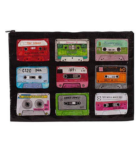 This black zip-up pouch bag features a collection of different colored tape cassettes.