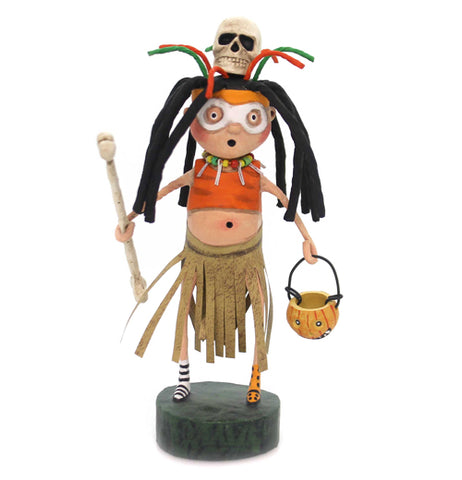 The Witch Doctor figure is a witch doctor holding a bone and a trick or treat basket.