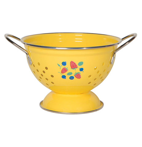 "The ""Berry Patch"" is a yellow metal colander is 1 quart, and has the design of strawberries and blueberries."