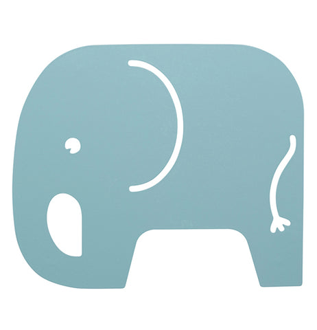 Baby blue trivet in the shape of an elephant.