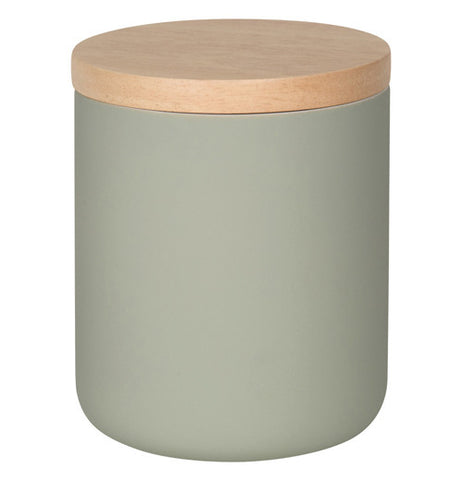Medium grey canister with a light wooden lid.