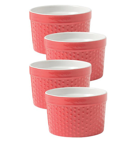 The set of four Red Ramekin's in a row.