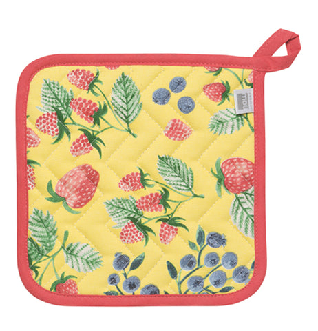 The yellow pot holder is outlined in red and has strawberries and black berries on it.