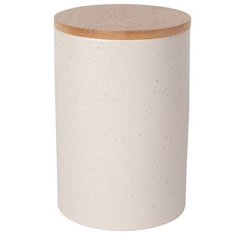A large tall tan canister with grey speckles with a brown fitted lid.