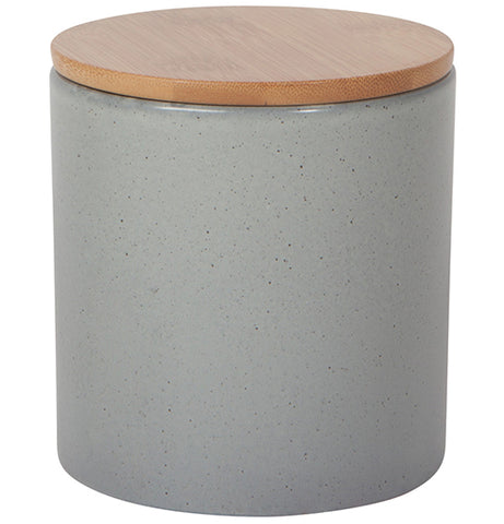 Medium, gray stone canister with a wooden cap on top.