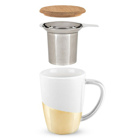 Gold Dipped tea mug showing its parts a tan bamboo lid, a silver colored stainless steel infuser and a white and gold colored mug all on a white background.