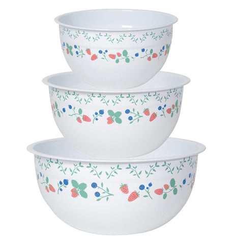 Set of three white mixing bowls with a blueberry and strawberry pattern.