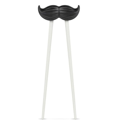 "The ""Mustache"" Chopsticks features a black flexible mustache on the hinge."