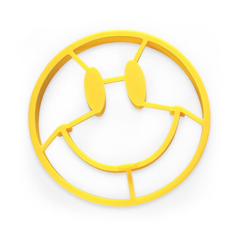 """Crack A Smile"" round yellow pancake and egg mold that looks like a smiling face."