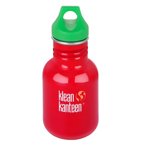 "This red steel water bottle has a green loop lid and its logo, ""Klean Kanteen"" in white lettering."