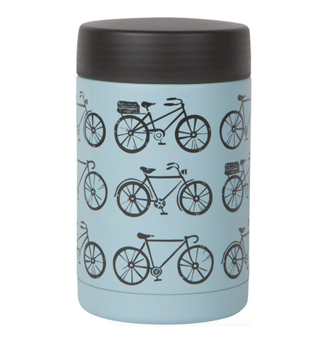 """Sweet Ride"" blue large food jar with black bicycle design and black lid over a white background."