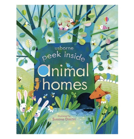 "The front cover of the ""Peek Inside Animals Homes"" Book shows many different animals around a tree with a hole for a home."