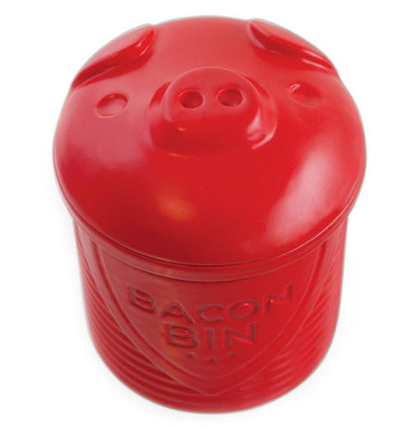 Red silicone bacon grease bin in the shape of a pig.