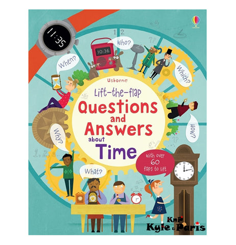"This blue book has a picture of different time-telling devices, such as digital watches and grandfather clocks. Different cogs are shown as well. One of the cogs has the book's title, ""Lift-the-flap Questions and Answers About Time"" in purple and red lettering."