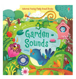 "The ""Garden Sounds"" Book shows beautiful surroundings, such as the blue bird singing, a baby bird in a bird house, a frog on a pond, and a bee on a pink tulip."