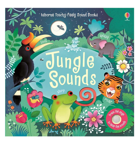 "The cover of this book shows an elephant, tiger, frog and toucan in a jungle setting surrounding the title of the book ""Jungle Sounds"""