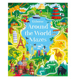 The front cover of the 'Around the World Mazes' Book shows cultural landmarks from around the world including the Leaning Tower of Pisa, the Eiffel Tower, Red Square, and the Great Pyramids.