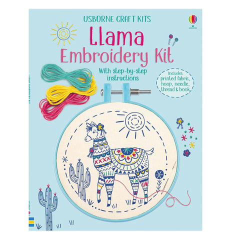This blue book is called Llama  Embroidery Kit. An embroidered Llama is colored with different patterns set in an embroidery frame and thread.