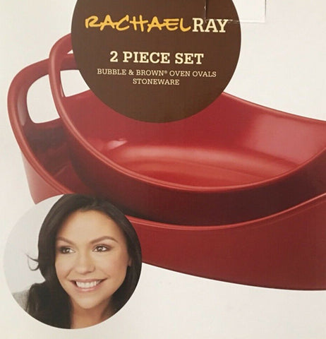 "The ""Red"" 2 Piece Bubble & Brown Ceramic Baker Set is packaged in a box with Rachel Ray's name and image."