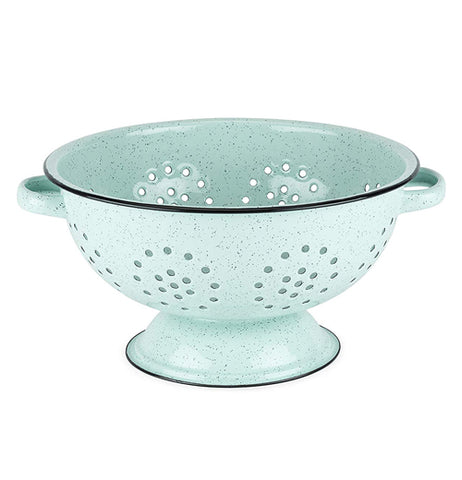 This colander is mint green with a black rim on its top and bottom.