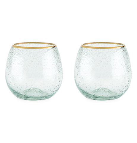 These two bubbly-looking glasses each have a golden colored rim at their tops.