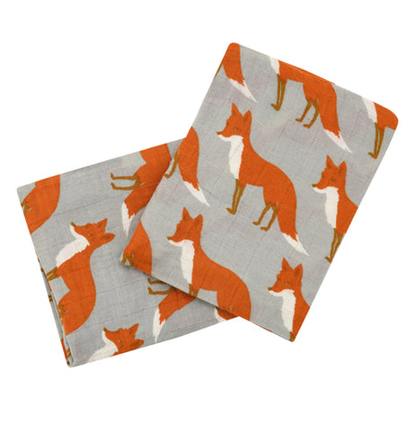 Both these burping cloths are gray with red foxes against their backgrounds.
