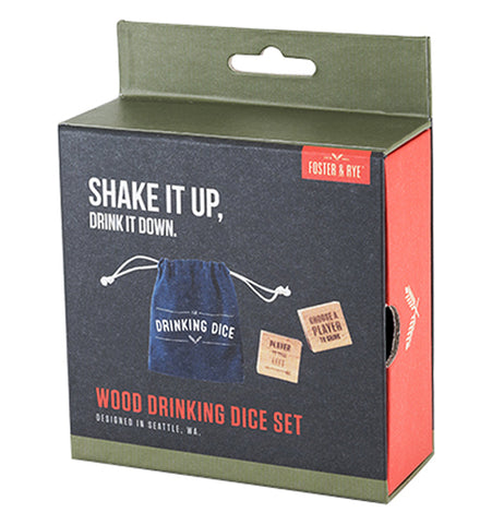 "A box with a picture of the wooden drinking dice and their blue bag is shown. The words, ""Shake It Up, Drink it Down"" are shown above the picture in white lettering. Below the picture are the words, ""Wood Drinking Dice Set"" in red lettering."