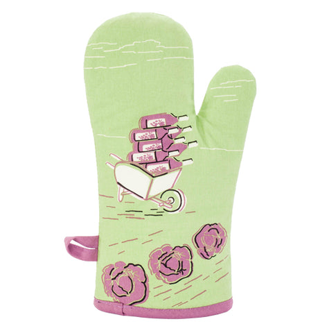 "The ""My Favorite Salad"" Oven Mitt on the back has a white wheelbarrow full of purple wine bottles below the garden of purple lettuce."
