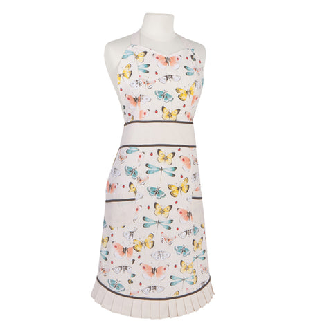 This white apron sports illustrations of blue, pink, and yellow butterflies and damselflies.