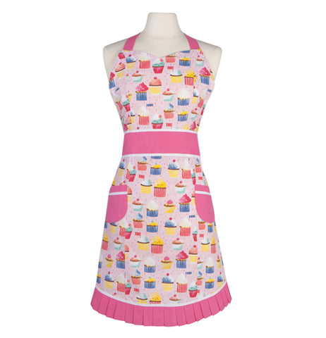 This pink apron is decorated with a design of different colored cupcakes from top to bottom.