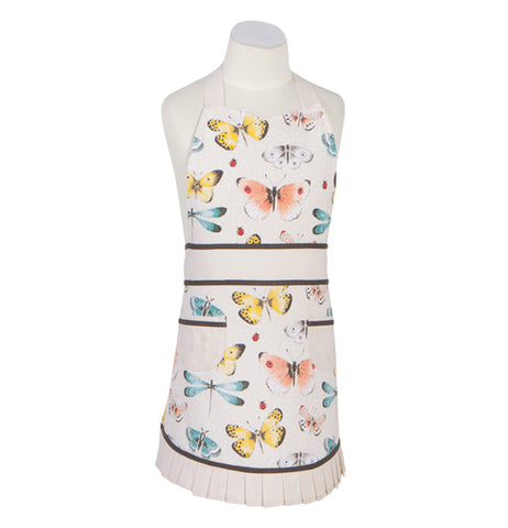 This white apron with brown and white laces features a design of different colored butterflies, moths, and damselflies.