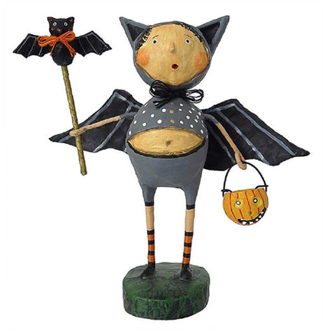 This Halloween figurine wears a dark gray costume with black bat wings and a cowl with ears and holds a stick with a bat on it in one hand and a Jack-O-Lantern shaped trick or treat basket in the other.