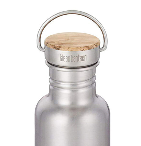 The bamboo and metal lid is shown screwed onto a steel water bottle.
