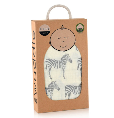 Grey Zebra Swaddle Blanket with a picture of a baby that is in a box with a carry handle.