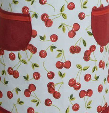 This cherry themed vintage apron has two red pockets.on each side.