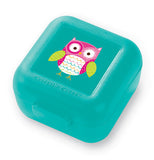This snack container has a cute little pink owl with green wings on a greenish-blue container.