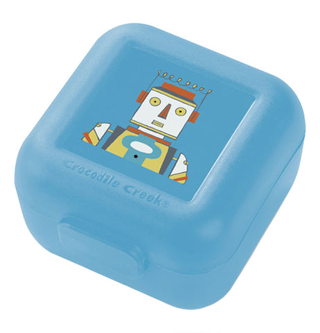 "The Snack Keeper (set of two) ""Robots"" has a picture of a robot on the lid a blue container."