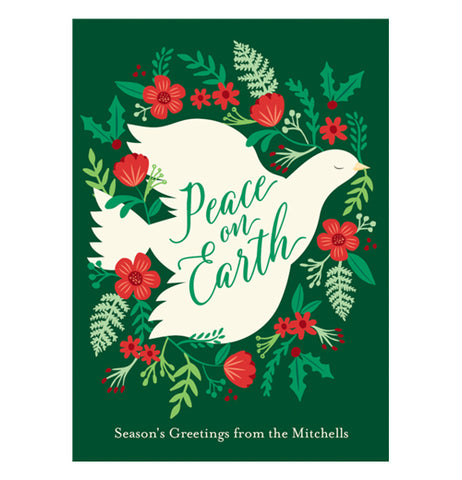 "This dark emerald green card features a white dove with the words, ""Peace on Earth"" in bright green lettering in the center. Surrounding the dove is a collection of bright green mistletoe plants with red roses covering them. At the bottom of the card are the words, ""Season's Greetings from the Mitchells"" in bright green lettering."