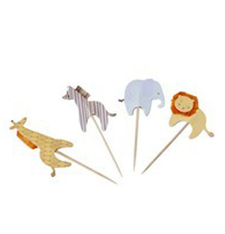 The four cupcake toppers are shown as a giraffe, zebra, elephant, and lion. They are all shown individually.