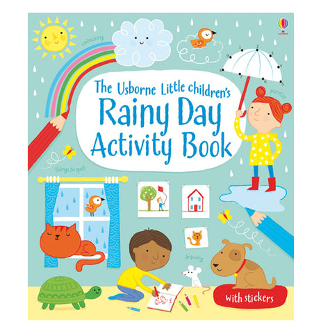 The Rainy Day Activity book front cover shows a little boy coloring pictures surrounded by a turtle, cat, dog, mouse, and a bird. A young girl standing in the rain holds an umbrella.
