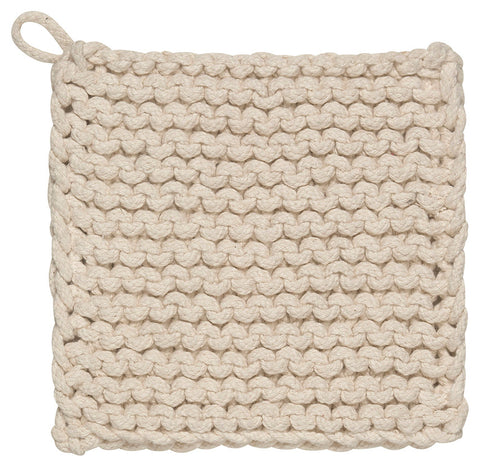 "The ""Parker Knit"" Potholder with a hanging loop is a cream color."