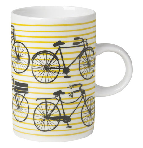 The Bicicletta Mug has yellow striped background with bicycles on it.