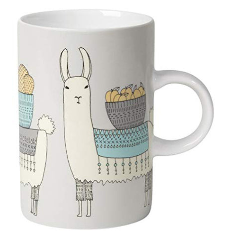This close-up of the Llamarama Mug has an illustration of llamas carrying bowls of cactuses and fruit on their backs