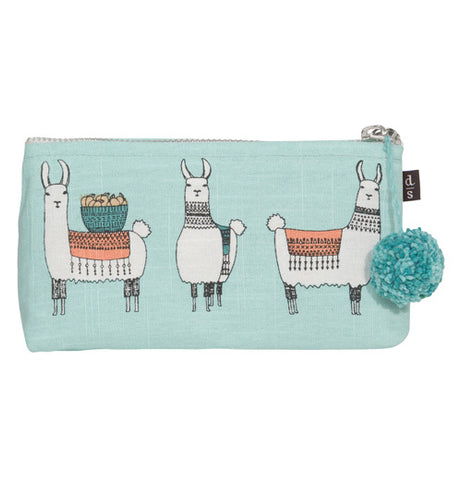 Three images of llamas on a linen cosmetic bag. It has a pom pom zipper pull for easy access.