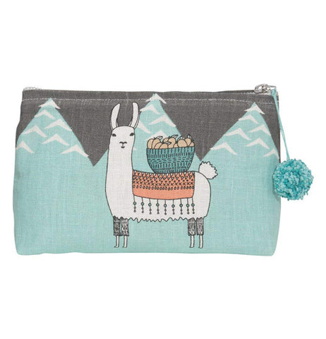 "That Small ""Llamarama"" Cosmetic Bag shows a llama on the mountainous background with the brown sky carrying a bowl of pumpkins."