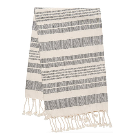 Gray and white striped hand towel with white twists on the ends folded over on a white background.