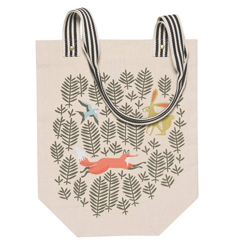 "The ""Hill and Dale"" Studio Tote Bag has white background features of a red fox, a blue bird, and light brown rabbit."