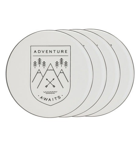"Set of four ""Adventure Awaits"" coasters are stacked in a row."