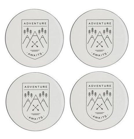 "Four of the Ceramic Coasters shows messages that says ""Adventure Awaits"" with numbers of trees, mountains, and rivers."