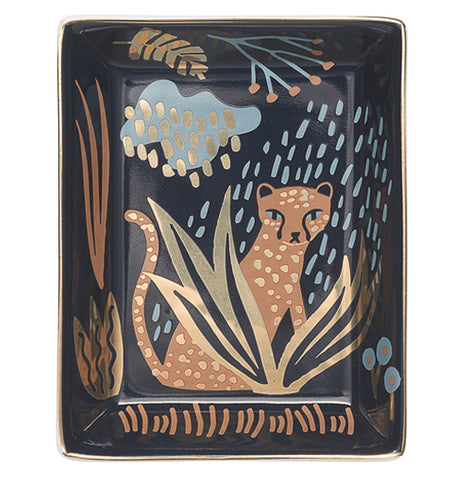 "The Glass Tray ""Empire"" features a picture cheetah prowling in a lush jungle during a rainstorm against a black background."